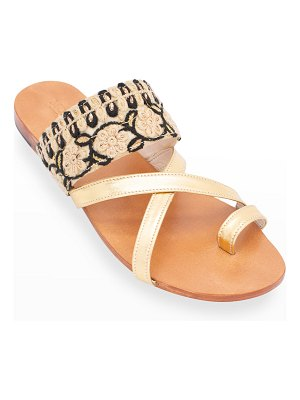MOMO NEW YORK Emelie Embroidered Toe-Ring Sandals