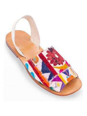 MOMO NEW YORK Francis Embroidered Patchwork Slingback Sandals