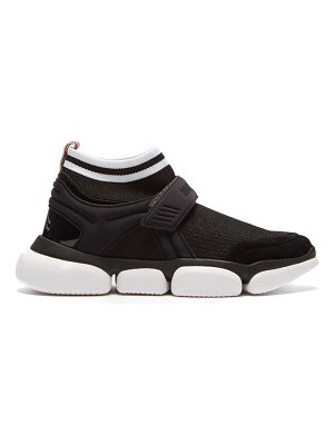 Moncler baktha suede and mesh bubble sole trainers