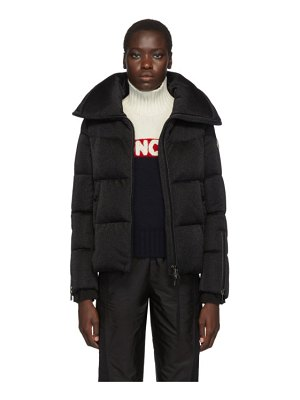 Moncler black bandama shimmer down jacket