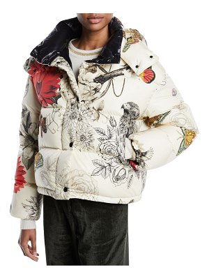 Moncler Caille Floral-Print Puffer Jacket w/ Removable Hood