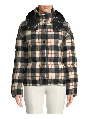 Moncler Caille Plaid Puffer Coat w/ Removable Hood