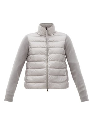 Moncler contrasting wool and quilted-down zip cardigan