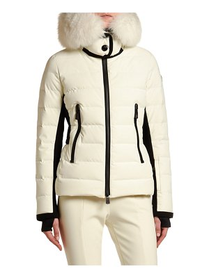 Moncler Fitted Puffer Jacket w/ Fur Hood