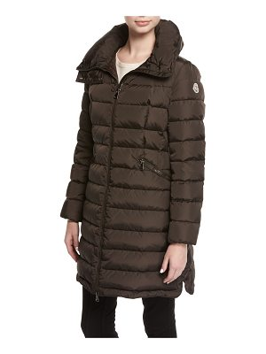 Moncler Flammette Puffer Coat w/ Packable Hood