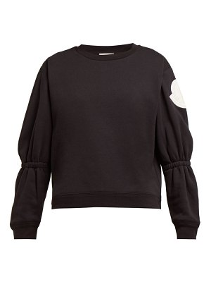 Moncler gathered-sleeve cotton-blend jersey sweatshirt