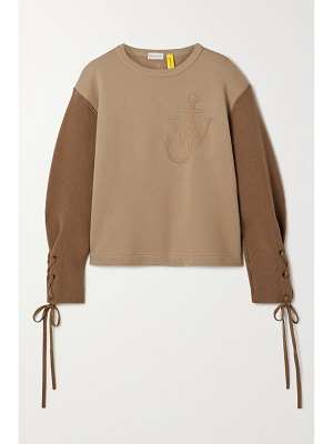 Moncler Genius + 1 jw anderson two-tone embroidered cotton-jersey and wool top