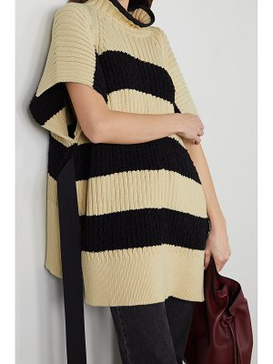 Moncler Genius belted striped ribbed cotton-blend poncho