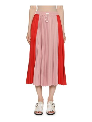 Moncler Gonna Drawcord Pleated Midi Skirt