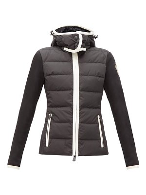 Moncler Grenoble logo-patch jersey-sleeve quilted down jacket