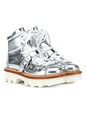 Moncler Grenoble Metallic leather ankle boots