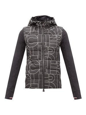 Moncler Grenoble printed down-filled shell and jersey hooded jacket