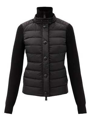 Moncler Grenoble tricot quilted down wool-blend cardigan