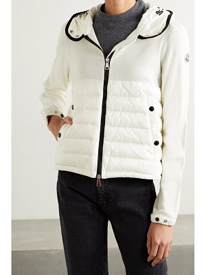 Moncler hooded quilted shell down and wool jacket - off-white