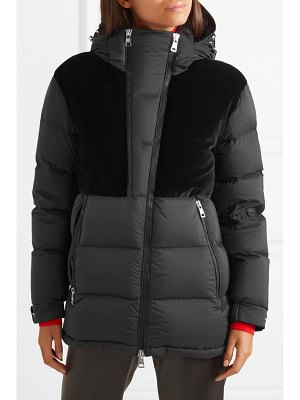 Moncler hooded velvet-paneled quilted shell down jacket