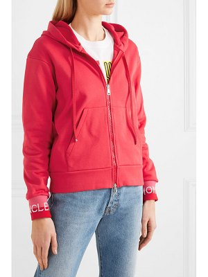 Moncler intarsia-trimmed loopback cotton-blend jersey hoodie