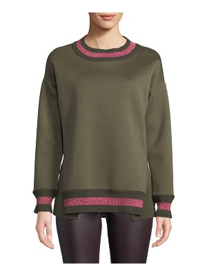 Moncler Knit Pullover Sweater w/ Sparkling Stripe