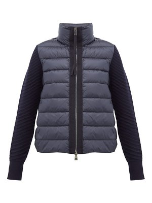 Moncler knitted sleeve quilted down jacket