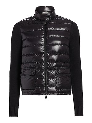 Moncler laquer knit-sleeve combo puffer jacket