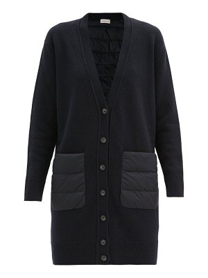 Moncler longline down quilted-panel and wool cardigan