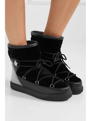 Moncler stephanie leather-trimmed velvet boots