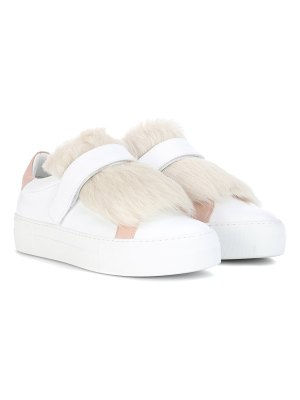Moncler victoire fur-trimmed leather sneakers