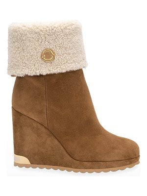 Moncler W Short Suede Shearling Wedge Boots