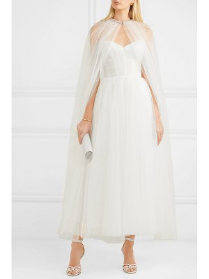 Monique Lhuillier Bridesmaids brie strapless ruched swiss-dot tulle gown