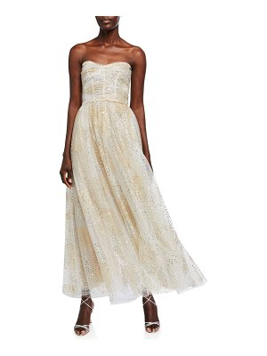 Monique Lhuillier Bridesmaids Glittery Ruched Bodice Strapless Chiffon Fit-&-Flare Dress