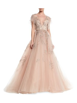 Monique Lhuillier Bridesmaids Plunging Cap-Sleeve Embellished Tulle Evening Ball Gown