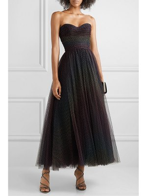 Monique Lhuillier Bridesmaids ruched polka-dot flocked tulle gown