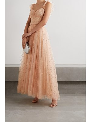 Monique Lhuillier Bridesmaids ruffled gathered glittered tulle gown