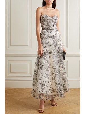 Monique Lhuillier Bridesmaids strapless glittered tulle gown