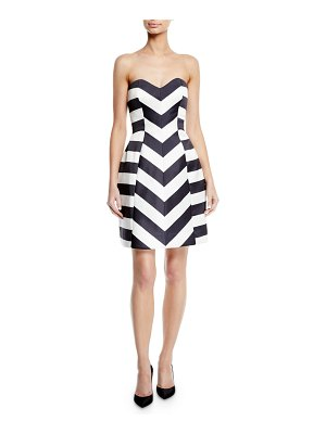 Monique Lhuillier Bridesmaids Strapless Striped Mikado Fit-and-Flare Cocktail Dress
