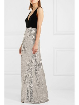 Monique Lhuillier Bridesmaids velvet and embellished tulle gown
