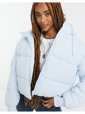 Monki amber recycled short padded jacket with hood in blue