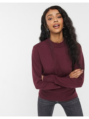 Monki ambidextra cotton knit sweater in wine red