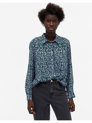 Monki assa recycled printed blouse in blue-multi