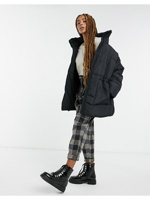 Monki bea recycled mid length padded jacket in black