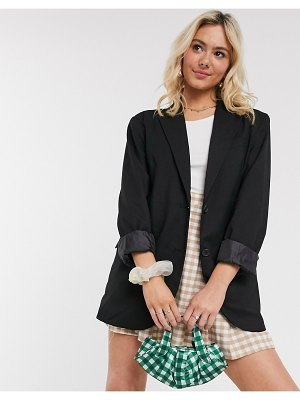 Monki blush oversize blazer in black
