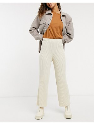 Monki calah ribbed pants in off white