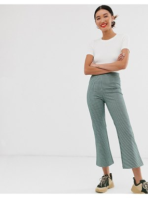 Monki check print jersey flare pants in multi