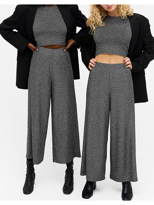 Monki cilla glitter ribbed wide leg pants in black