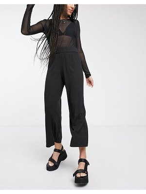 Monki cilla jersey ribbed wide leg cropped pants in black