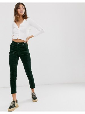Monki cord skinny pants in dark green