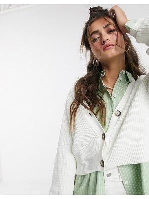 Monki cropped cardigan in white