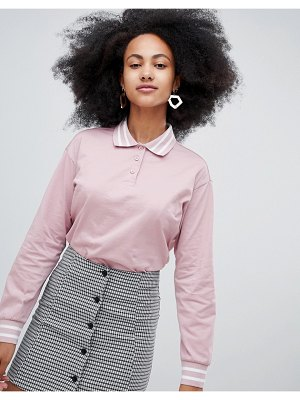 Monki Cropped Rugby Shirt