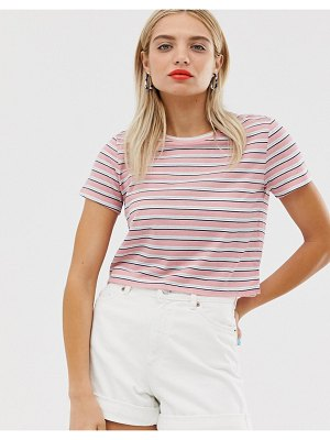 Monki cropped t-shirt in pink and white stripe-multi