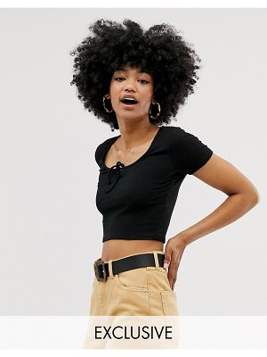 Monki cropped top with tie detail in black