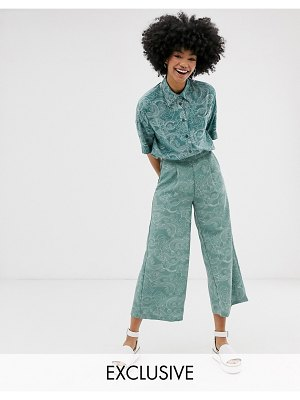 Monki cropped wide leg pants with elastic waist and cloud print in turquoise-blue